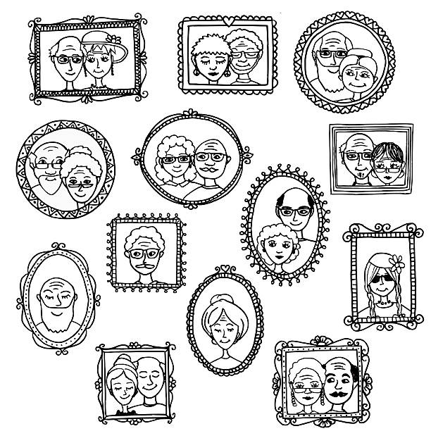 hand drawn portraits of old people - old man photo pictures stock illustrations, clip art, cartoons, & icons