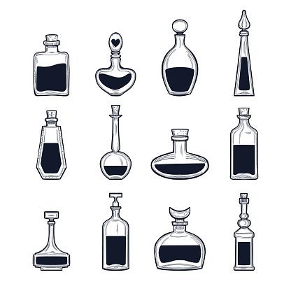 Hand drawn potion bottles set, vector illustration