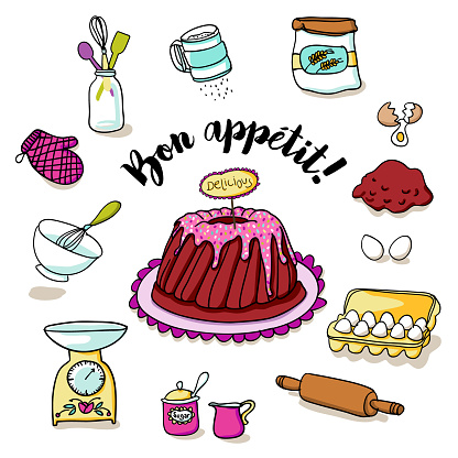 Hand drawn pound cake with pink icing and multicolored sprinkles and a lot of baking ingredients - bakery illustration