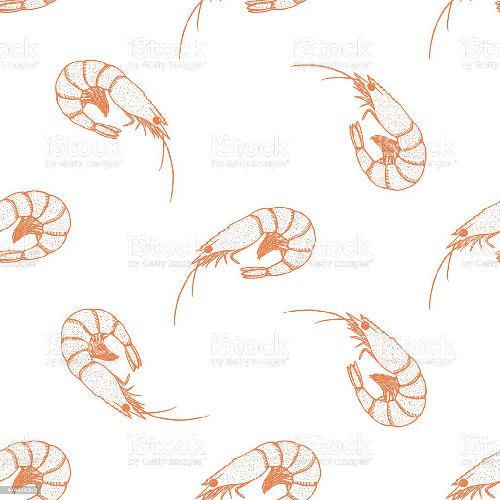 Hand drawn prawn seamless pattern on a white background vector art illustration
