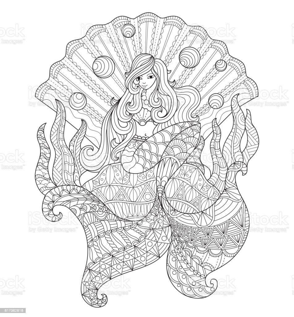 Hand dras prinsessa sjöjungfru i seashell för vuxen målarbok. vektorkonstillustration