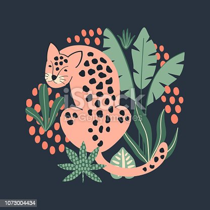 Hand drawn print with cute pink Leopard and tropical leaves. Vector illustration.