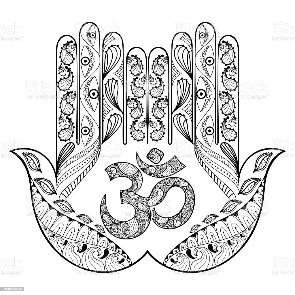 Hand drawn protection hamsa hand for adult coloring vector art illustration