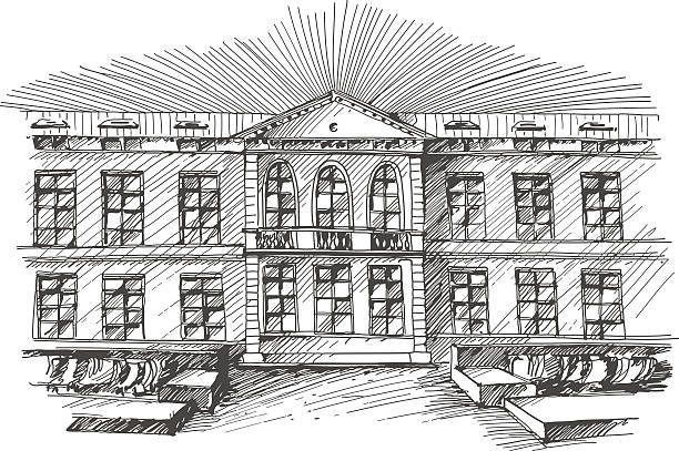 Hand drawn public building vector art illustration