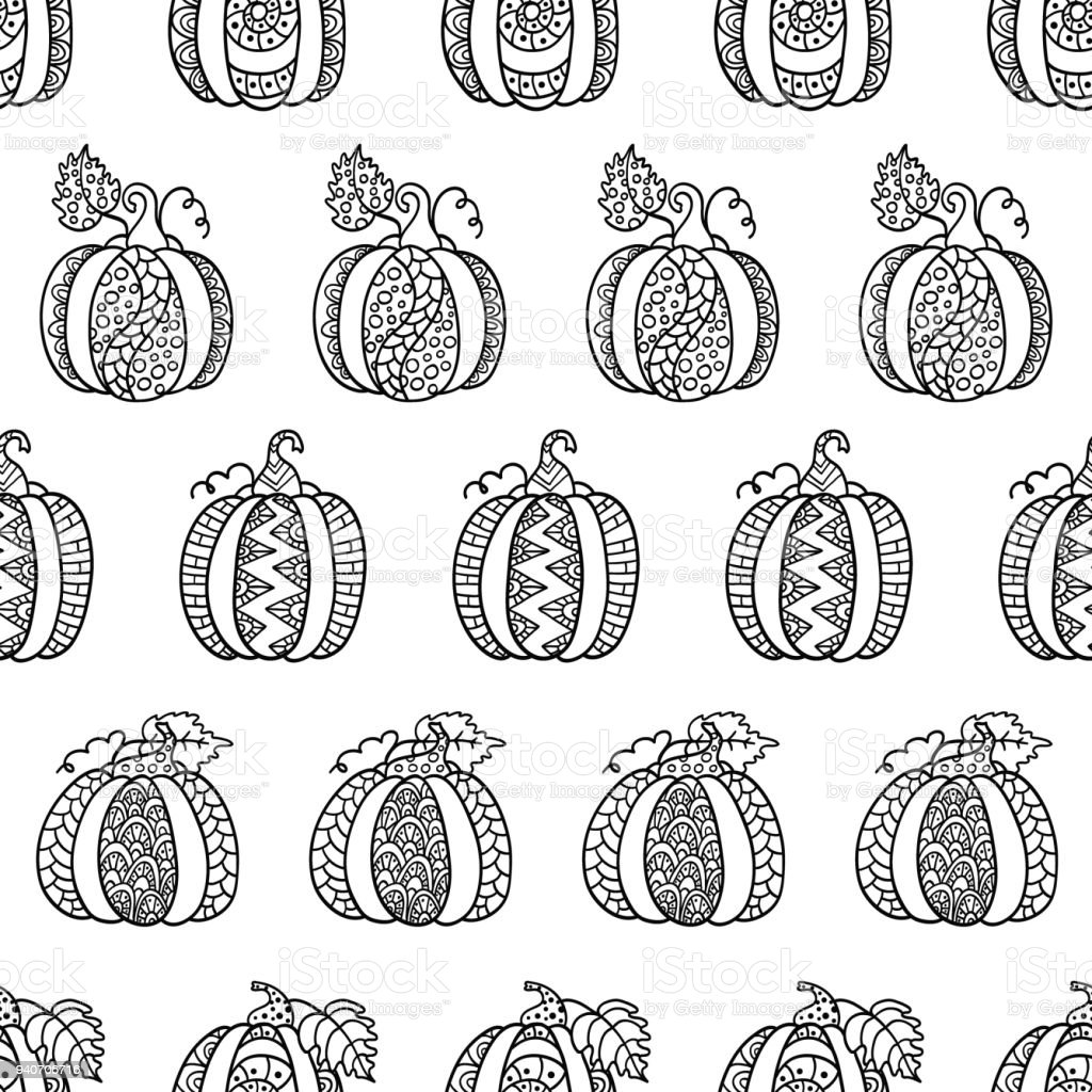 Hand drawn pumpkins for anti stress colouring page vector art illustration