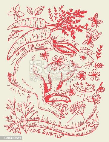 Hand Drawn Rabbit And Plants