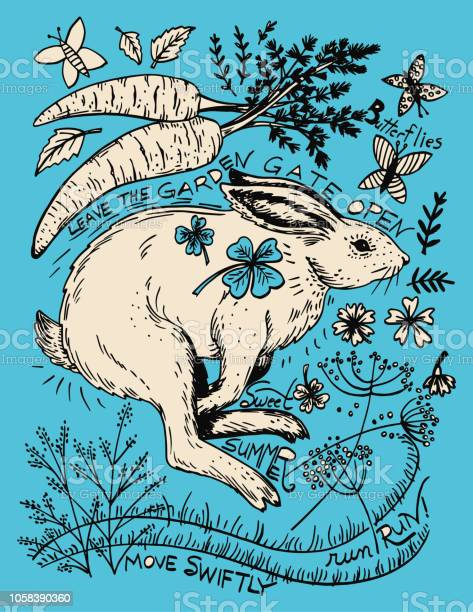 Hand drawn rabbit and plants vector id1058390360?b=1&k=6&m=1058390360&s=612x612&h=2yi3dxy5uczfm8cbgcp6qplncnbrvgrbdb4xqa3db4a=