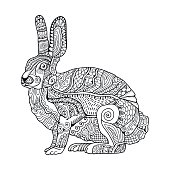 Hand drawn rabbit in black and white.