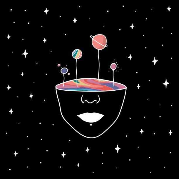 hand gezeichnet regenbogen planeten im raum. illustration mädchen mit bunten innenseite des gesichts. zeichnung vektor skizze für textil, druck, postkarte, text, einladung, poster, t-shirt, design, logo. - surreal stock-grafiken, -clipart, -cartoons und -symbole