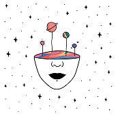 Hand Drawn rainbow planets in the space. Illustration girl with colorful inside of face
