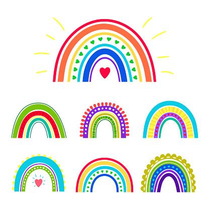 Hand drawn rainbows. Heaven colors boho cute scandinavian rainbow set, cartoon love vintage symbols