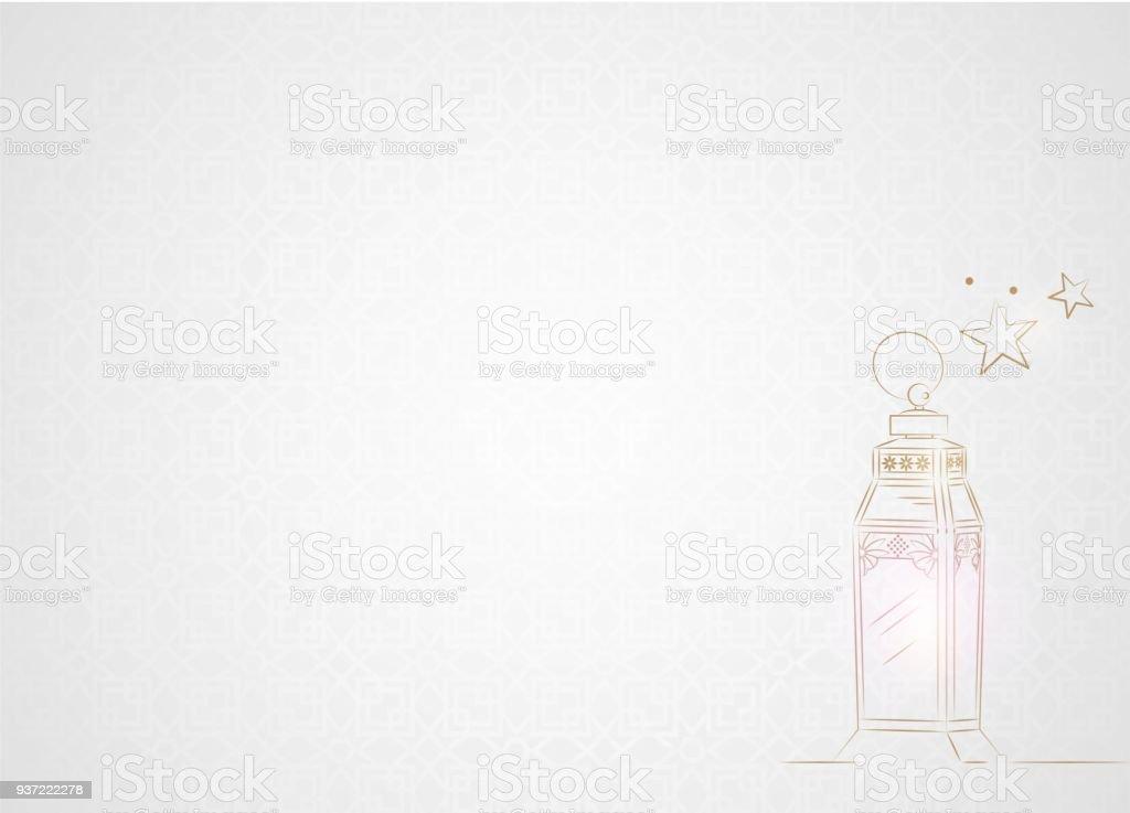Hand Drawn Ramadan Lantern with Golden Light on White Background. vector art illustration