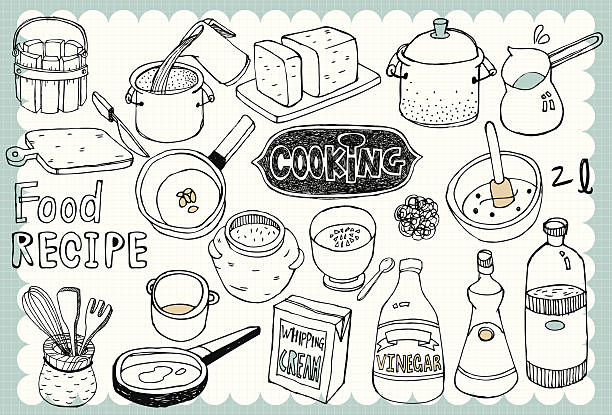 Hand drawn recipe set 01 Vintage recipe illustration with cooking and food related words in hand drawn style  kitchenware department stock illustrations