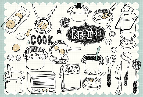 Hand drawn recipe set 04 Vintage recipe illustration with cooking and food related words in hand drawn style  kitchenware department stock illustrations