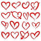 Hand drawn red hearts. Rough doodle drawn heart valentines day symbols vector painting ornate wedding shape collection