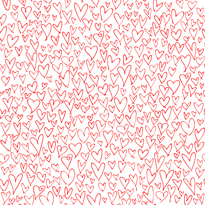 Hand drawn red hearts seamless pattern. Valentine's, Mother's day, birthday card, wallpaper or gift wrap design.