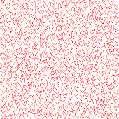 Many red hand drawn hearts on white background. Simple chaotic abstract design on square composition. This picture is designed to make a smooth seamless pattern if you duplicate it vertically and horizontally to cover more space.