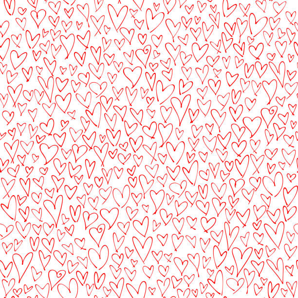 Hand drawn red hearts seamless pattern. Valentine's, Mother's day, birthday card, wallpaper or gift wrap design. vector art illustration
