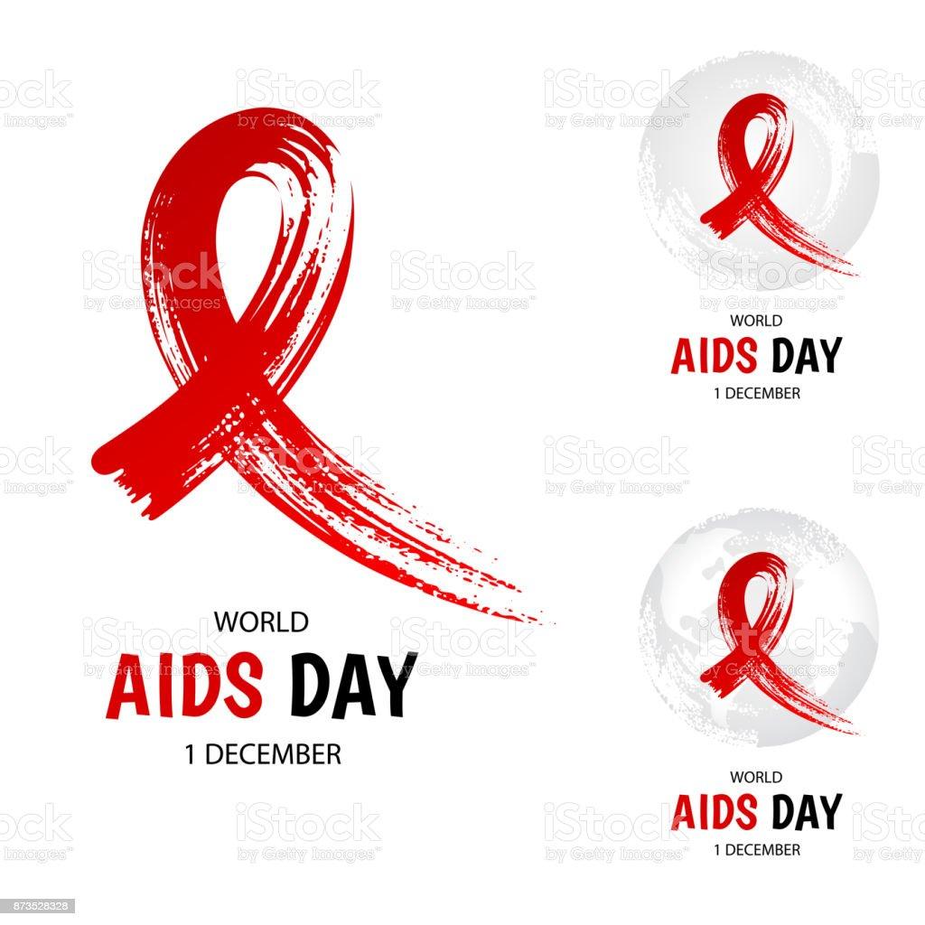 Hand drawn red ribbon, world aids day vector art illustration
