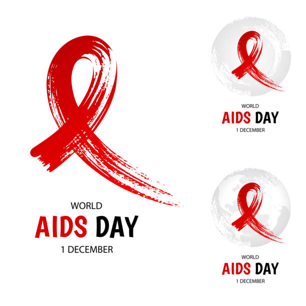 elle çizilmiş kırmızı kurdele, dünya aids günü - aids stock illustrations