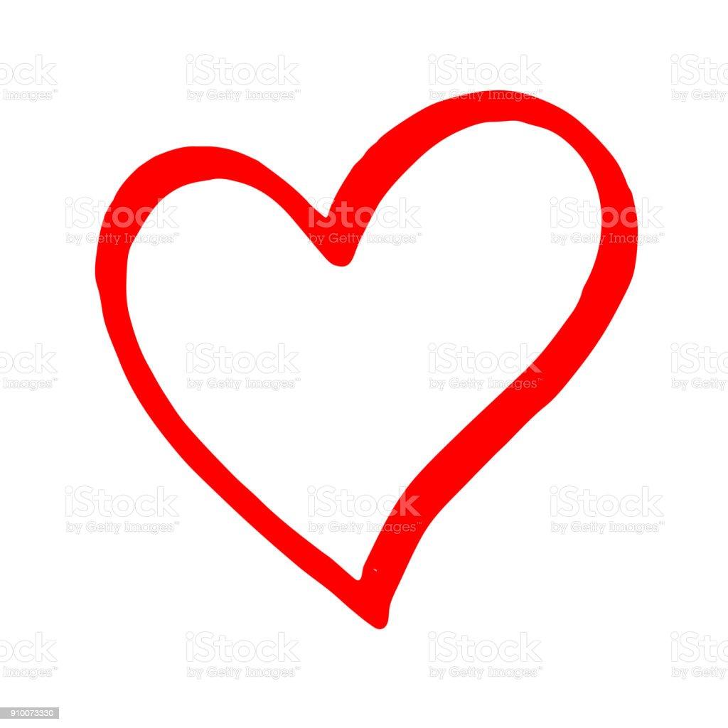 Hand drawn red vector heart line art on white background vector art illustration