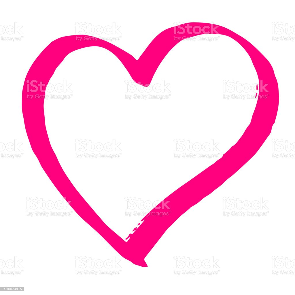 Hand Drawn Red Vector Heart Line Art On White Background Stock
