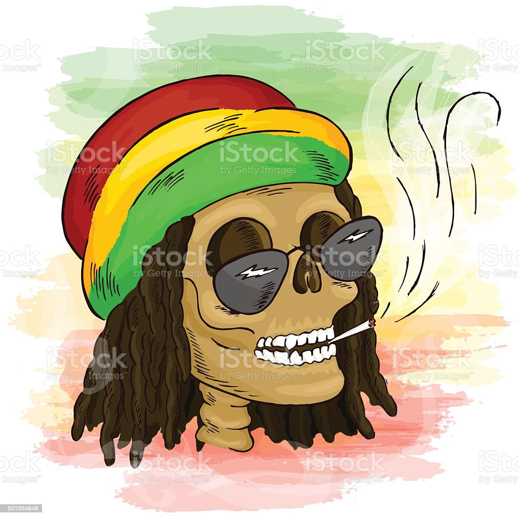 Hand drawn reggae smoking skull wearing rasta hat stock vector art hand drawn reggae smoking skull wearing rasta hat royalty free hand drawn reggae smoking skull biocorpaavc Image collections