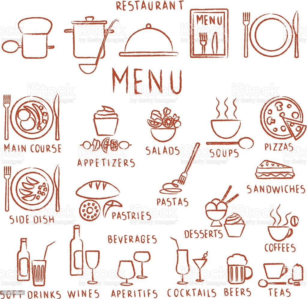 Hand drawn restaurant menu elements vector art illustration
