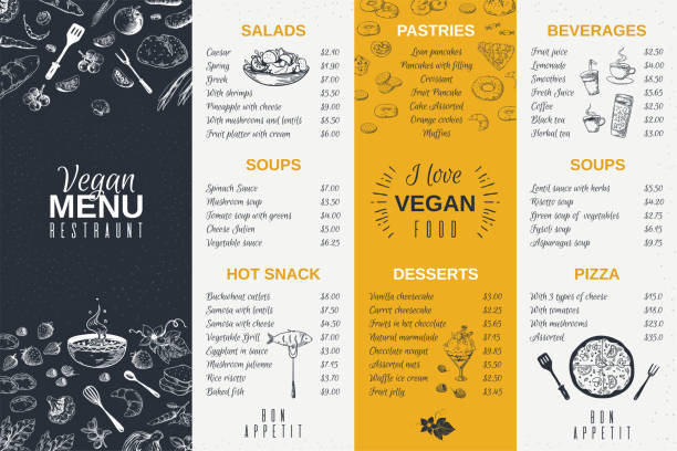 ilustrações de stock, clip art, desenhos animados e ícones de hand drawn restaurant menu. food cooking vintage template, doodle breakfast and diner cafe flyer. vector menu card poster design - ementa