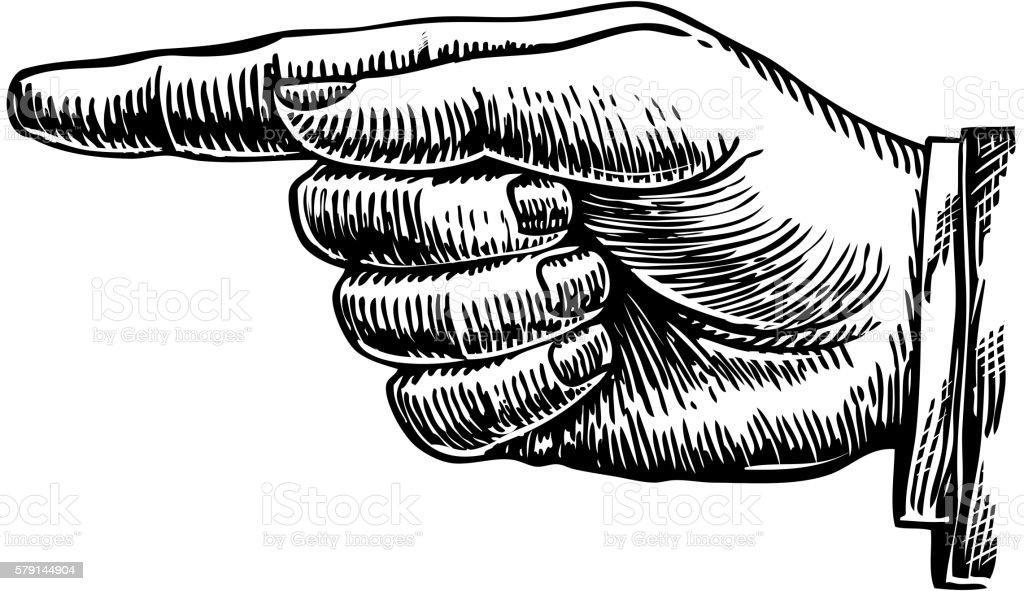 Hand drawn retro forefinger. Vector illustration vector art illustration