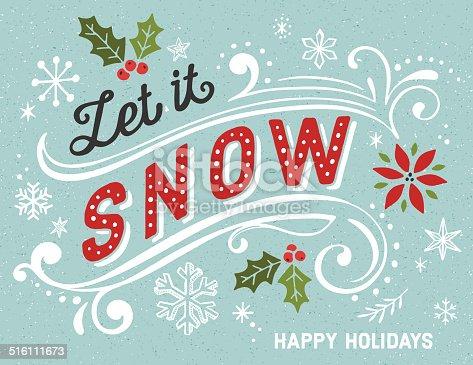 istock Hand Drawn Retro Holiday Card 516111673
