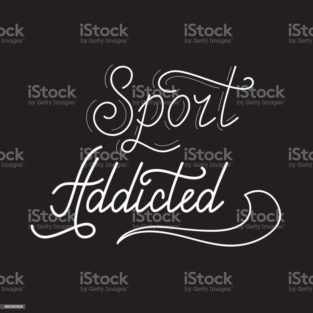 Hand drawn retro lettering Sport addicted royalty-free hand drawn retro lettering sport addicted stock vector art & more images of addiction