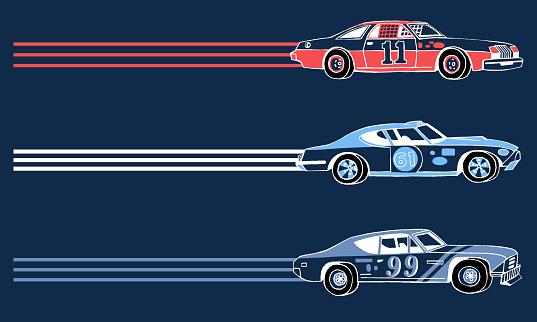 Hand drawn retro racing sport cars.