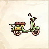 Hand drawn retro scooter. Delivery service logo. Vector isolated illustration.