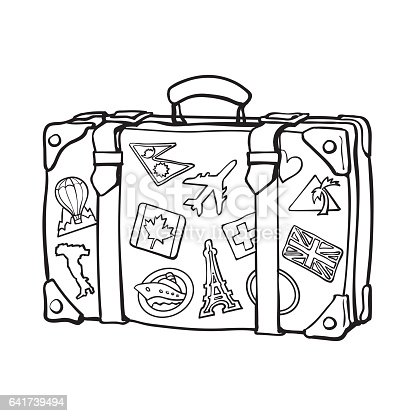 Hand Drawn Retro Style Travel Suitcase With Labels Stock