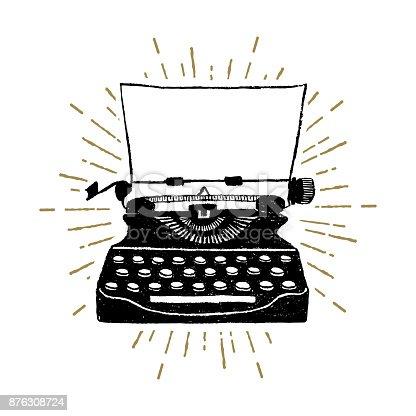 istock Hand drawn retro typewriter vector illustration. 876308724