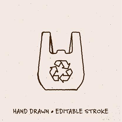 Hand Drawn Reusable Bag Line Icon with Editable Stroke