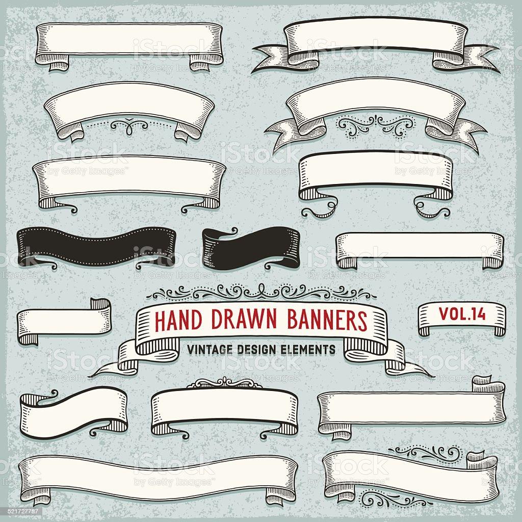 Hand Drawn Ribbon Banners vector art illustration