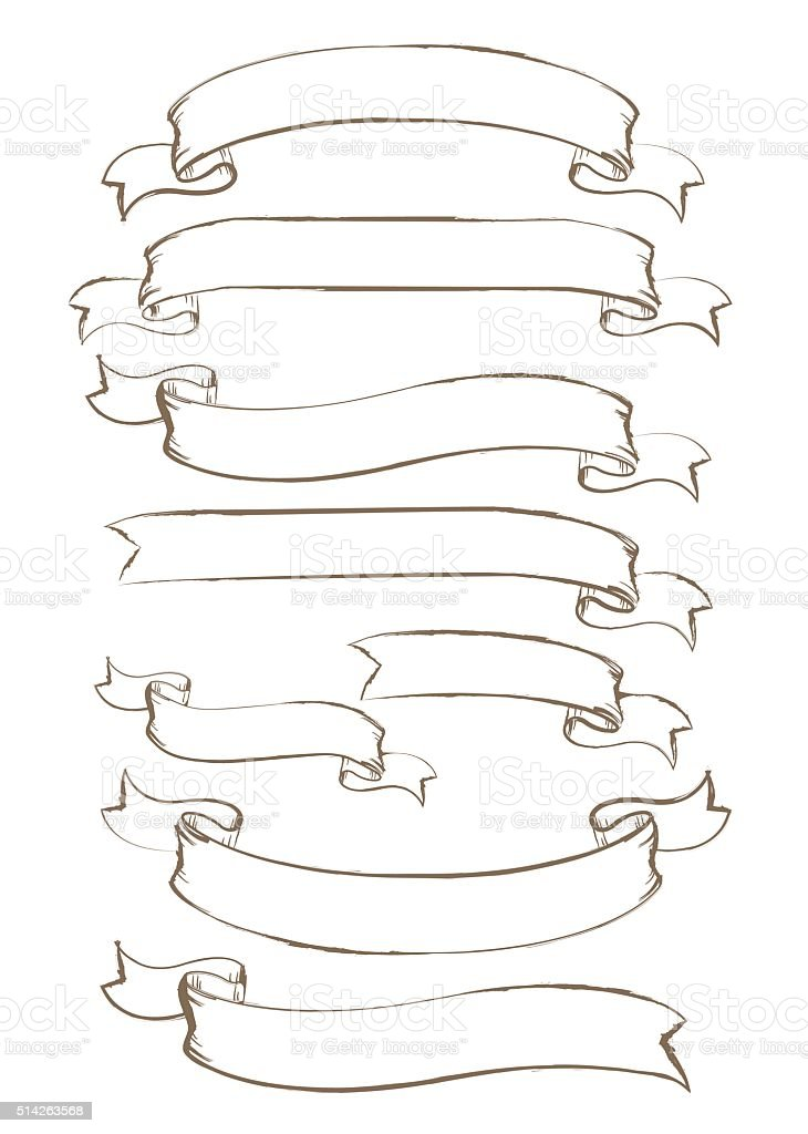 Hand drawn ribbon Vector vector art illustration