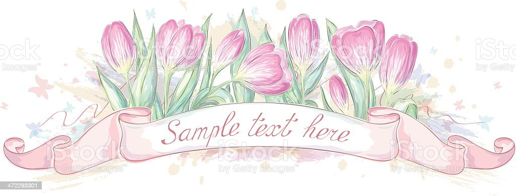 Hand drawn ribbon with tulips royalty-free hand drawn ribbon with tulips stock vector art & more images of copy space