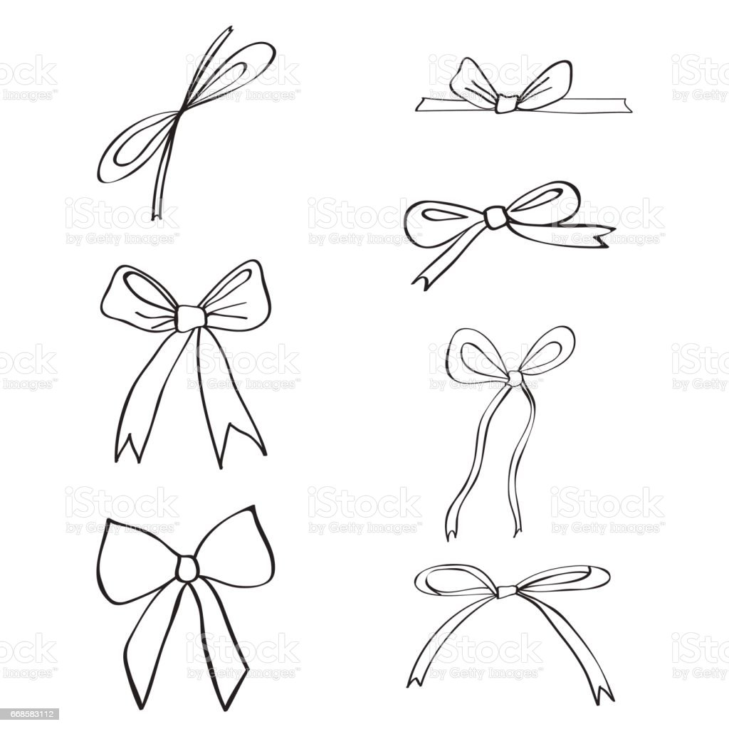 Hand Drawn Ribbons And Bows Isolated On White Background Doodle Ink