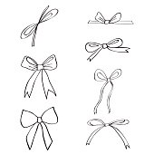 Hand drawn ribbons and bows isolated on white background, doodle ink sketch illustration, black line art style, decorative elements for design greeting card, wedding invitation, packaging, advertising