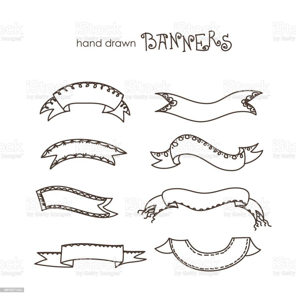 Hand drawn Ribbons,banner vector art illustration