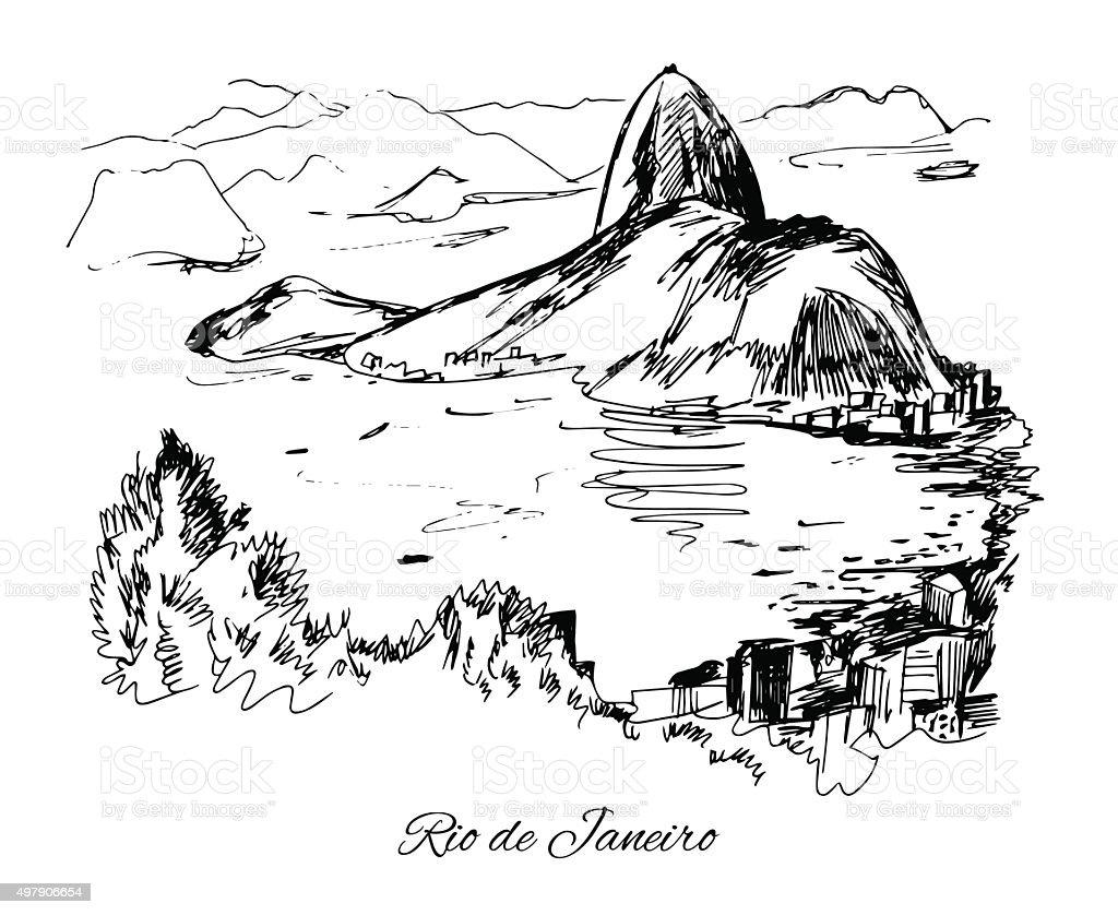 Hand drawn Rio de Janeiro coast vector art illustration