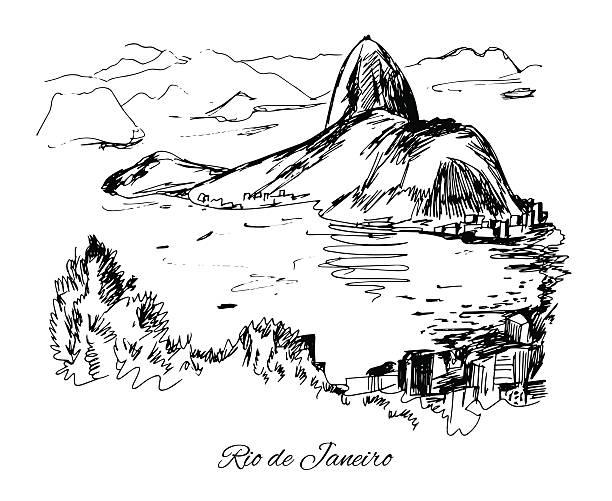 ilustrações de stock, clip art, desenhos animados e ícones de mão desenhada costa do rio de janeiro - rio de janeiro