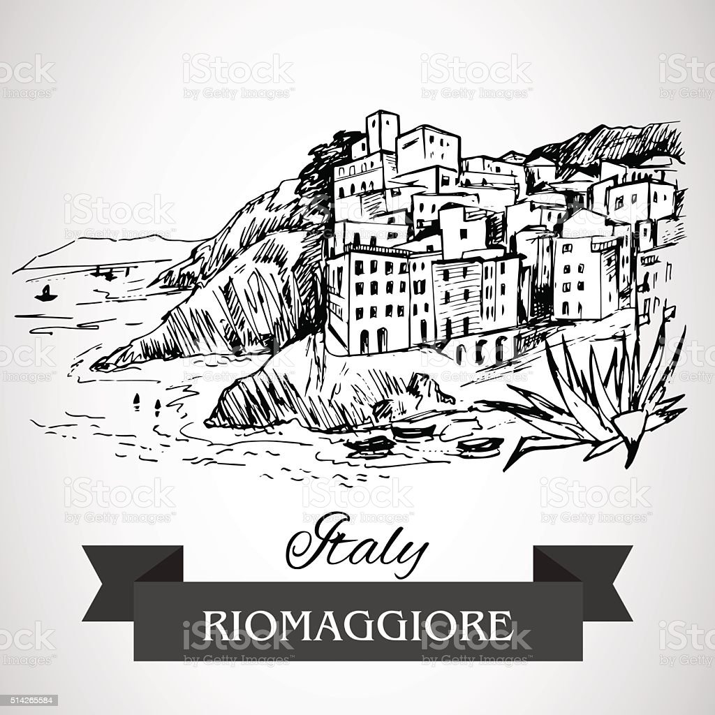 Hand drawn Riomaggiore village vector art illustration