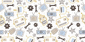 istock Hand drawn robots seamless pattern. Cute character vintage background. Doodle vector illustration, good for baby, kids, and children fashion textile print. 1217895052