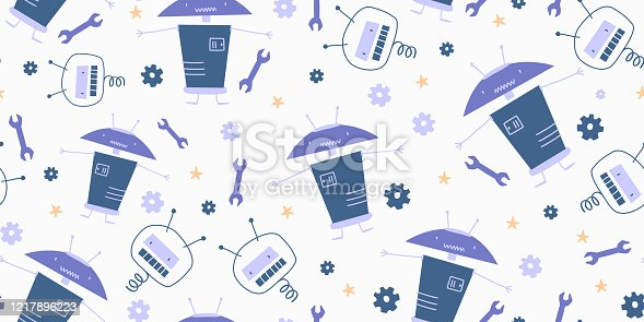 istock Hand drawn robots seamless pattern. Cute character vintage background. Doodle vector illustration, good for baby, kids, and children fashion textile print. 1217896223