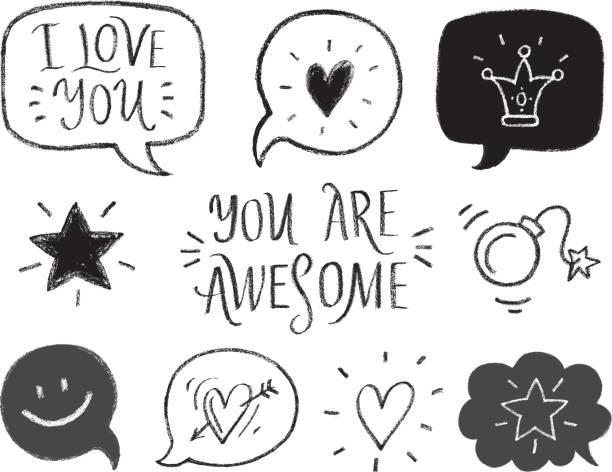hand drawn romantic symbols. - bubble fonts stock illustrations