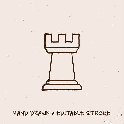 Hand Drawn Rook Icon with Editable Stroke